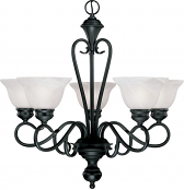 "Devonshire Matte Black Chandelier Alabaster Glass 26""Wx24""H"