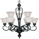 "Devonshire Matte Black Chandelier Alabaster Glass 29""Wx28""H"
