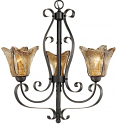 "Chatsworth Burnished Gold Umber Glass Chandelier 23""Wx25""H"