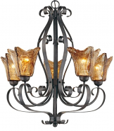 "Chatsworth Burnished Gold Umber Glass Chandelier 26""Wx28""H"