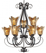 "Chatsworth Burnished Gold Umber Glass Chandelier 30""Wx35""H"