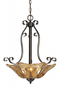 "Chatsworth Burnished Gold Umber Glass Pendant 19""Wx23""H"