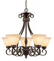 "Alma Bronze & Gold Highlighted Chandelier Bell Glass 28""Wx26""H"