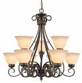 "Alma Bronze & Gold Highlighted Chandelier Bell Glass 31""Wx29""H"