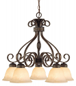 "Alma Bronze & Gold Highlighted Chandelier Bell Glass 26""Wx24""W"
