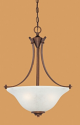 "Canton Burnished Gold Bronze Pendant light White Glass 18""Wx22""H"