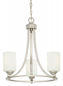 "Bristo Satin Nickel Chandelier Etched Drum Glass 19""Wx21""H"