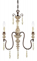 "Denise Antique White & Bronze Crystal Chandelier 17""Wx24""H"