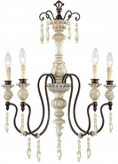 "Denise Antique White Bronze & Crystals Chandelier 22""Wx29""H"