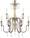 "Denise Antique White Bronze & Crystals Chandelier 28""Wx36""H"