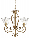 "Chatsworth Vintage Gold Chandelier Clear Glass 23""Wx25""H"