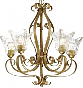 "Chatsworth Vintage Gold Chandelier Clear Glass 26""Wx28""H"