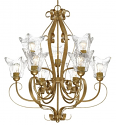 "Chatsworth Vintage Gold Chandelier Clear Glass 30""Wx35""H"