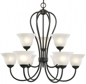 "Main Street Black Chandelier Alabaster Glass 30""Wx30""H"