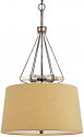 "Burlap & Textured Steel Pendant Light 20""Wx34""H"