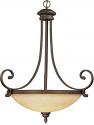 "Oxford Bronze Turinian Scavo Glass Pendant Light 27""Wx33""H"