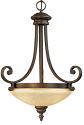 "Oxford Bronze Turinian Scavo Glass Pendant Light 17""Wx24""H"