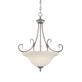 "Fulton Rubbed Silver Chandelier Etched Glass 21""Wx23""H"