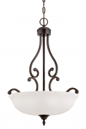 "Courtney Lakes Bronze & White Glass Pendant Light 18""Wx24""H"
