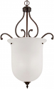 "Courtney Lakes Bronze & White Glass Pendant Light 21""Wx32""H"