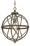 "Lakewood Antique Silver Iron Globe Chandelier 12""Wx15""H"