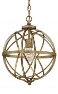 "Lakewood Vintage Gold Iron Globe Chandelier 12""Wx15""H"