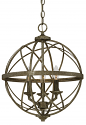 "Lakewood Antique Silver Iron Globe Chandelier 16""Wx20""H"