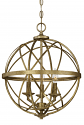 "Lakewood Vintage Gold Iron Globe Chandelier 16""Wx20""H"