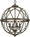 "Lakewood Antique Silver Iron Globe Chandelier 20""Wx24""H"