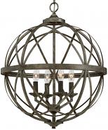 "Lakewood Antique Silver Iron Globe Chandelier 20""Wx24""H"