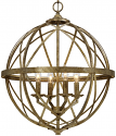 "Lakewood Vintage Gold Iron Globe Chandelier 20""Wx24""H"