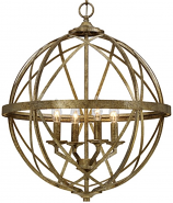 "Lakewood Vintage Gold Iron Globe Chandelier 20""Wx24""H"