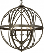 "Lakewood Antique Silver Iron Globe Chandelier 24""Wx28""H"