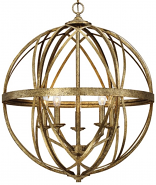 "Lakewood Vintage Gold Iron Globe Chandelier 24""Wx28""H"