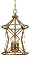 "Lakewood Vintage Gold Iron Barrel Pendant Light 12""Wx19""H"