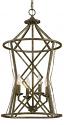 "Lakewood Antique Silver Iron Barrel Pendant Light 16""Wx30""H"