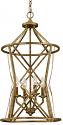 "Lakewood Vintage Gold Iron Barrel Pendant Light 16""Wx30""H"