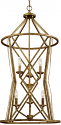 "Lakewood Vintage Gold Iron Barrel Pendant Light 20""Wx40""H"