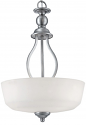 "Lansing Brushed Pewter Chandelier White Glass 15""Wx21""H"