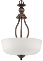 """Lansing Rubbed Bronze Chandelier White Glass 15""""Wx21""""H"""
