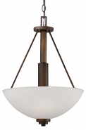 "Durham Rubbed Bronze Pendant Light White Glass 16""Wx21""H"