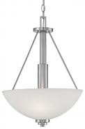 "Durham Satin Nickel Pendant Light White Glass 16""Wx21""H"
