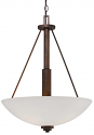 "Durham Rubbed Bronze Pendant Light White Glass 19""Wx25""H"