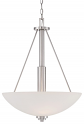 "Durham Satin Nickel Pendant Light White Glass 19""Wx25""H"