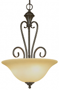 "Devonshire Burnished Gold Pendant Light Scavo Glass 16""Wx24""H"