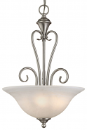 "Devonshire Satin Nickel Pendant Light Alabaster Glass 16""Wx24""H"
