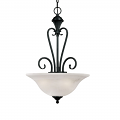 "Devonshire Matte Black Pendant Light Alabaster Glass 16""Wx24""H"