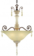 "Denise Antique White Bronze & Crystals Pendant Light 18""Wx28""H"