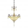 "Denise Antique White & Bronze Crystal Pendant Light 18""Wx28""H"