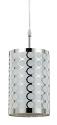 "Chrome & White Fabric Drum Bar Light 6""Wx9""H"